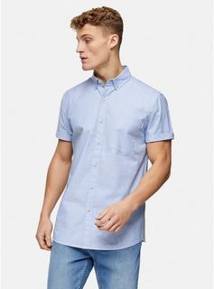 Topman - Mens Light Blue Slim Shirt, Blue