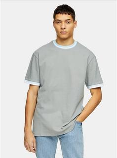 Topman - Mens Grey Tipped Pique T-Shirt, Grey