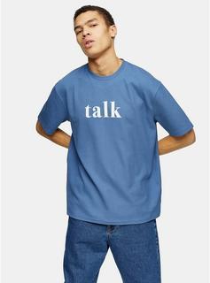 Topman - Mens Blue Talk Print T-Shirt, Blue
