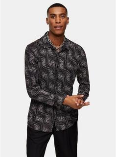 Jaded - Mens Jaded Black Paisley Print Long Shirt*, Black