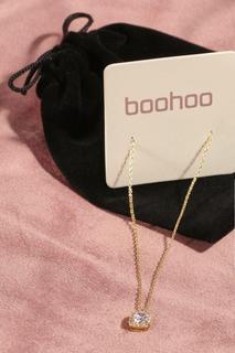 boohoo - Womens Premium Plated Cubic Zirconia Necklace - Metallics - One Size, Metallics