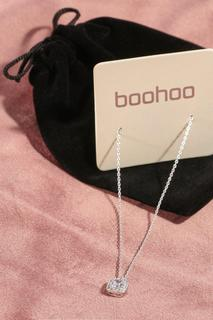 boohoo - Womens Premium Plated Cubic Zirconia Necklace - Grey - One Size, Grey