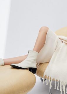 MANGO - Lederstiefelette mit reißverschluss