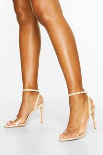 boohoo - Womens 2-Teilige Stiletto-Heels Mit Transparenten Riemen - Hautfarben - 38, Hautfarben