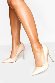 boohoo - Womens High Heel Pointed Court Shoes - Beige - 4, Beige