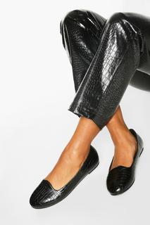 boohoo - Womens Basic Croc Slipper Ballets - Black - 8, Black