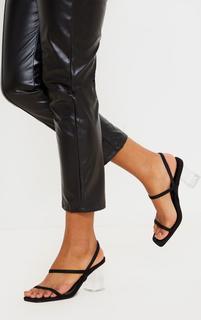 PrettyLittleThing - Black Square Toe Clear Low Block Heel Sandals, Black