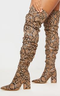 PrettyLittleThing - Brown Snake Ruched Thigh High Block Heel Boots, Snake Print