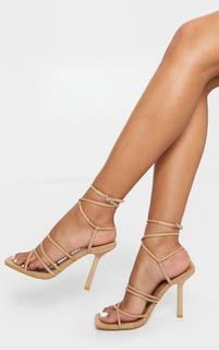 PrettyLittleThing - Sand Squared Strappy Heels, Sand