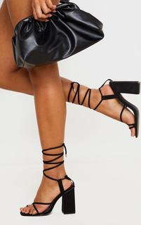 PrettyLittleThing - Black Chunky Block Heel Strappy Ankle Tie Sandals, Black