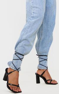 PrettyLittleThing - Black Cylinder Heel Toe Thong Ankle Tie Sandals, Black