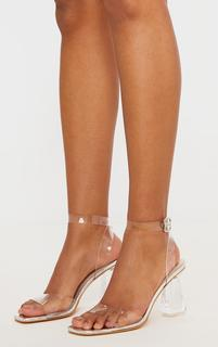 PrettyLittleThing - Silver Clear Ankle Strap Block Cone Heeled Sandals, Pink
