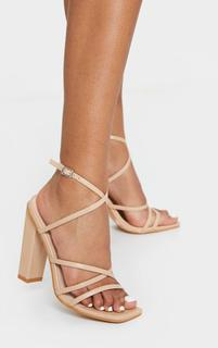 PrettyLittleThing - Nude Chunky Heel Strappy Square Toe Heeled Sandals, Pink