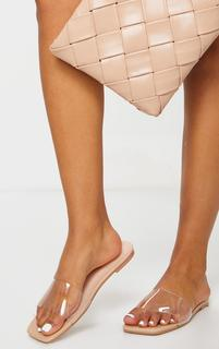 PrettyLittleThing - Nude Pu Clear Strap Mule Sandals, Pink