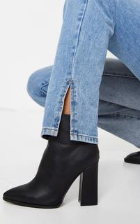 PrettyLittleThing - Black Wide Fit Point Block Heel Ankle Boots, Black