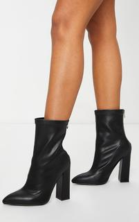 PrettyLittleThing - Black Wide Fit High Point Block Heel Ankle Boots, Black