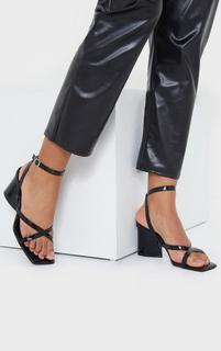 PrettyLittleThing - Black Tear Drop Block Heel Square Toe Cross Strappy Sandals, Black