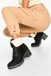 boohoo - Womens Shearling Cuff Chunky Hiker Boots - Black - 4, Black