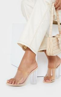 PrettyLittleThing - Nude Clear High Block Mule Heel, Pink