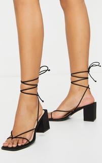 PrettyLittleThing - Black Square Toe Block Heel Strappy Toe Thong Sandals, Black
