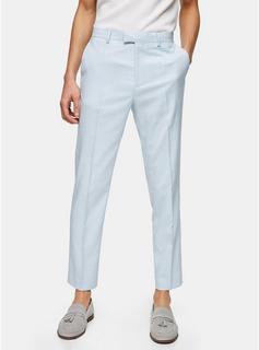 Topman - Mens Light Blue Slim Fit Suit Trousers, Blue