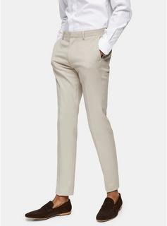 Topman - Mens Stone Skinny Fit Suit Trousers, Stone