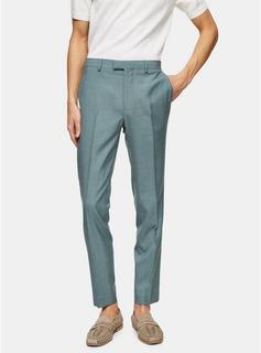 Topman - Mens Sage Green Skinny Fit Suit Trousers, Green