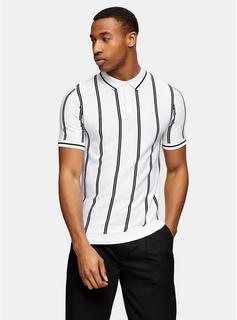 Topman - Mens Black And White Stripe Button Knitted Polo, White