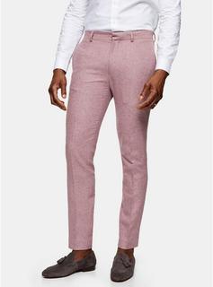 Topman - Mens Pink Slim Fit Warm Handle Suit Trousers, Pink