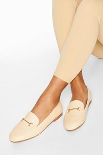 boohoo - Womens T Bar Basic Loafers - White - 5, White
