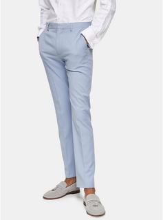 Topman - Mens Light Blue Skinny Fit Suit Trousers, Blue