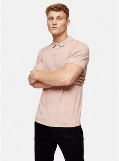 Topman - Mens Pink Stitch Short Sleeve Knitted Polo, Pink