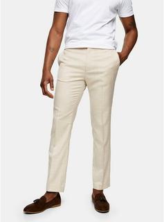 Topman - Mens Stone Slim Fit Suit Trousers, Stone