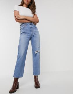 Levis - Ribcage– Knöchellange Straight-Jeans in Blau