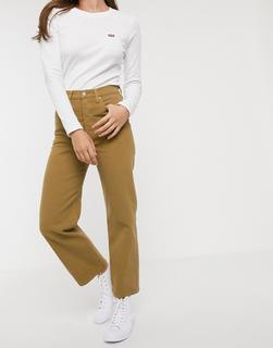 Levis - Ribcage – Knöchellange, hellbraune Jeans mit geradem Bein-Beige