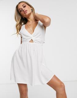 ASOS DESIGN - Weißes Strand-Sommerkleid mit gedrehter Vorderseite und Schnürung hinten
