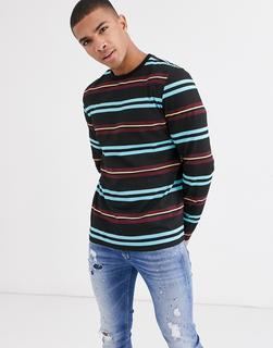 ASOS DESIGN - Langärmliges, gestreiftes T-Shirt mit Ausschnitt in Kontrastoptik-Mehrfarbig