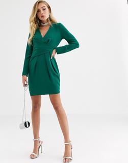 ASOS DESIGN - Minikleid mit drapierter Vorderseite und V-Ausschnitt in Grün