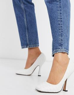 ASOS DESIGN - Prestige – Gesteppte Pumps in Weiß