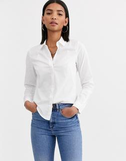 ASOS DESIGN - Langärmliges, figurbetontes Hemd aus Stretch-Baumwolle in Weiß