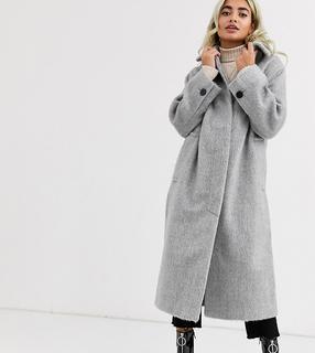 ASOS Petite - ASOS DESIGN Petite– Grauer Mantel mit Kragen und Knopfleiste