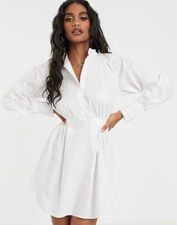 Missguided - Popline-Hemdkleid mit elastischem Bund in Weiß