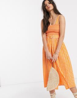 ASOS DESIGN - Gerafftes, kariertes Midi-Sommerkleid mit Bindegürtel-Mehrfarbig