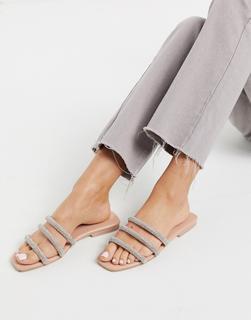 SIMMI Shoes - Simmi London – Regine – Flache, verzierte Sandalen in Beige