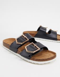 New Look - Flache Sandalen in Schwarz mit doppeltem Riemen