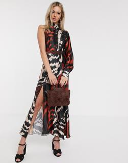 Liquorish - Wadenlanges Satin-Kleid mit One-Shoulder-Träger und abstraktem Muster-Mehrfarbig