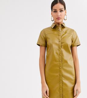 Glamorous Tall - Hemdkleid aus weichem Kunstleder-Grün