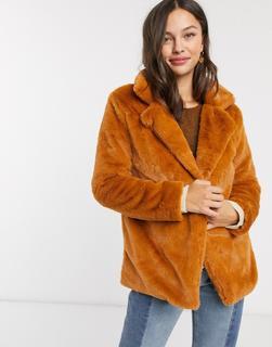 Parisian - Mittellanger Mantel aus Kunstpelz-Orange