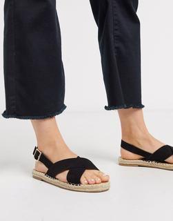 Truffle Collection - Espadrille-Sandalen mit überkreuzten Riemen-Schwarz
