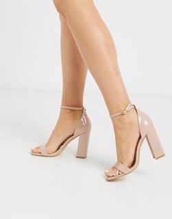Truffle Collection - Sandalen mit eckigem Zehenbereich und Blockabsatz-Beige